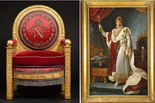 Le trône de Napoléon Ier qui sera vendu à Fontainebleau le 7 avril 2019. A droite, portrait de l'empereur Napoléon, devant un de ses trônes, par le baron Gérard (ancienne collection famille Baciocchi)