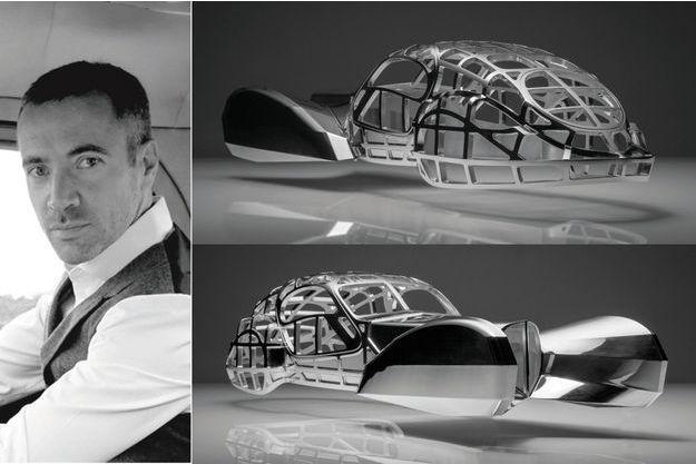 Icône automobile, la Bugatti Type 57SC Atlantic, récemment honorée du Peninsula Classics Best of the Best Award, a inspiré le designer Etienne Salomé, à gauche. Sa sculpture, réalisée à partir d'un bloc de métal, reproduit la structure en bois du véhicule. Le résultat est fascinant. A partir de 13 080 €.