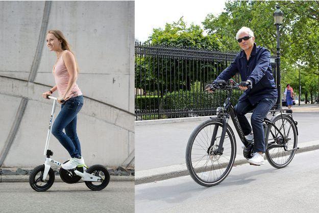Le Micro Pedalflow et le Piaggio Wi-Bike.