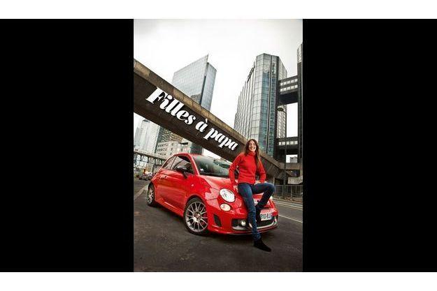 Margot Laffite et la Fiat 500 Abarth tributo Ferrari