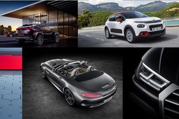 De haut en bas et de gauche à droite : le concept Lexus UX, la nouvelle Citroën C3, un aperçu du Renault Trezor, la Mercedes AMG GT roadster et un aperçu de l'Audi Q5.