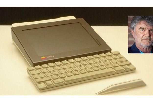 A la différence de l'iPad, Bashful, la première tablette, avait un clavier solidaire. En médaillon: Hartmut Esslinger, designer.