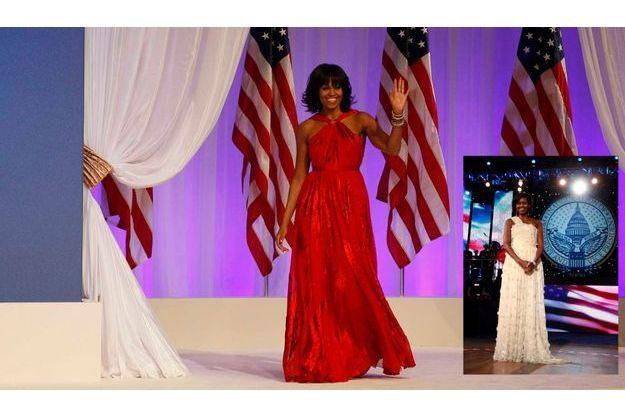 Les deux robes du soir choisies à quatre années d'intervelle par Michelle Obama.