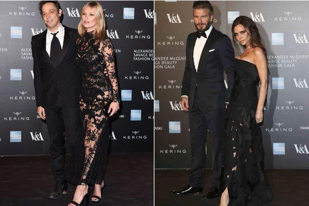 Jamie Hince et Kate Moss, David et Victoria Beckham à l'avant-première de l'exposition dédiée à Alexander McQueen.