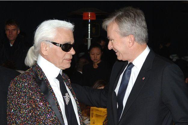 Karl Lagerfeld et Bernard Arnault en 2007.