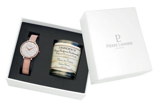 Deux coffrets uniques composés d'une montre Pierre Lannier de la collection Eolia et d'une bougie parfumée Fleur de Coton de la Maison Durance.