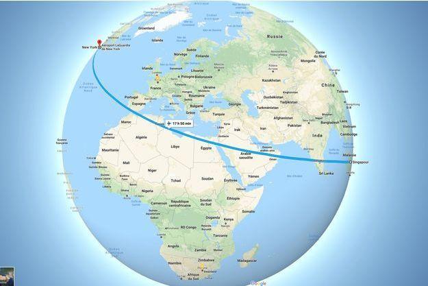 La carte du vol le plus long du monde