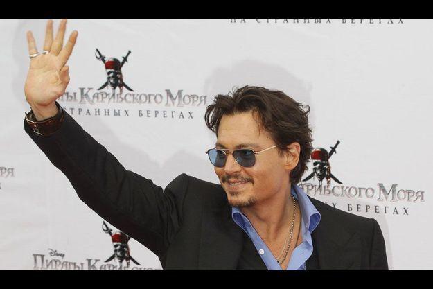Johnny Depp, lors de la présentation du nouveau Pirates des Caraïbes, le 11 mai à Moscou.