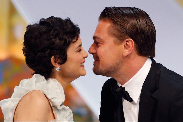 Audrey Tautou et Leonardo DiCaprio lors de la cérémonie d'ouverture