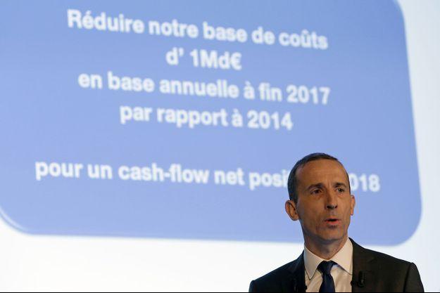 Le directeur général du groupe Philippe Knoche lors de la conférence de presse de ce mercredi à Courbevoie.