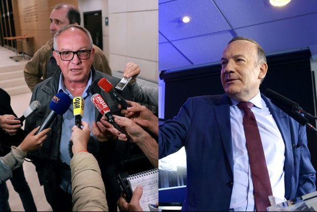 Eric Aubin, négociateur de la CGT, et Pierre Gattaz, patron du Medef.