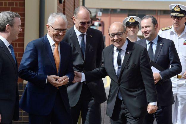 Jean-Yves Le Drian et le Premier ministre australien Malcolm Turnbull.