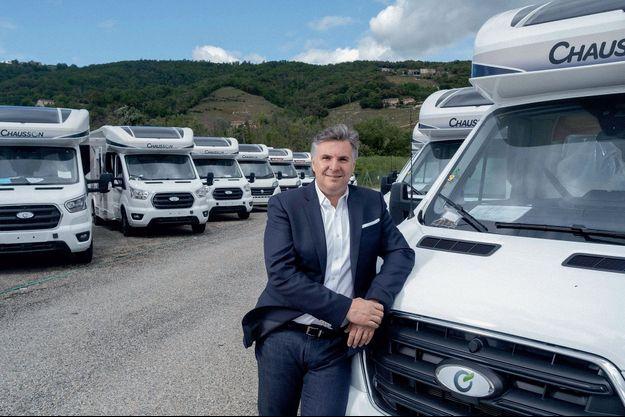 Stéphane Gigou, le président du directoire du constructeur français Trigano, sur le site d'assemblage de Tournon, en Ardèche.