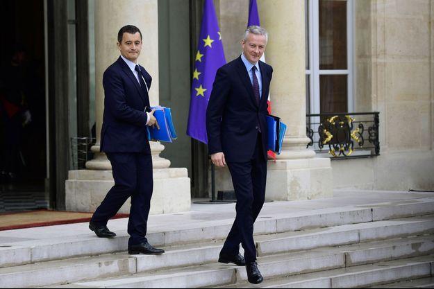 Gérald Darmanin, ministre de l'Action et des Comptes publics, et Bruno Le Maire, ministre de l'Economie, en juillet dernier à l'Elysée.