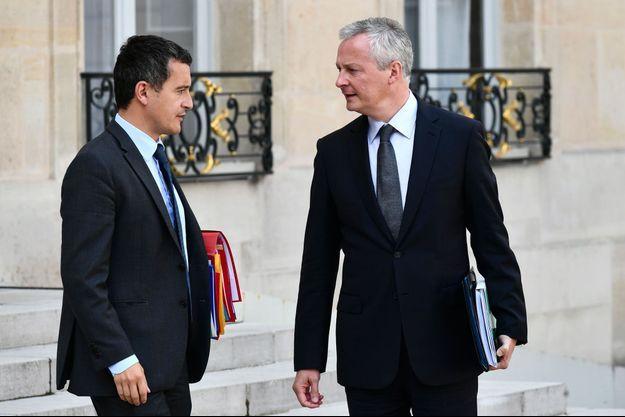 Gérald Darmanin et Bruno Le Maire à l'Elysée lundi.