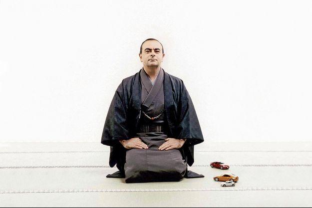 Carlos Ghosn pose en samouraï.