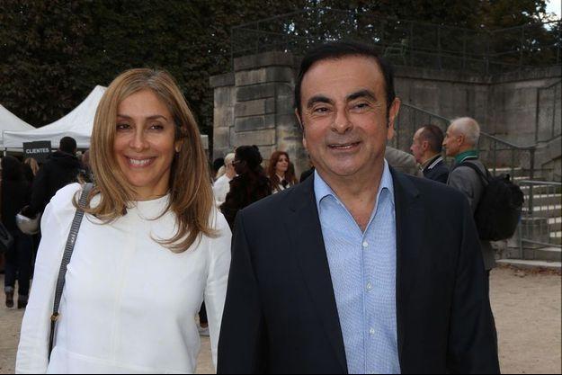 Carole et Carlos Ghosn à Paris, en octobre 2016.