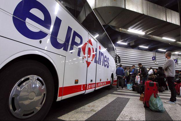 Un car Eurolines au terminal de Bagnolet, en Seine-Saint-Denis, en 2012.