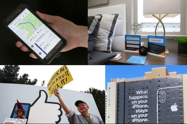 """De g. à dr. et de haut en bas : un smartphone affiche un trajet enregistré l'historique des positions de Google; une enceinte Amazon Echo dans une maison-modèle en Californie; des manifestants anti-Facebook devant le siège de Menlo Park, en Californie, en avril 2018; une publicité Apple visant Facebook et Google avec le slogan : """"Ce qui se passe dans votre iPhone reste sur votre iPhone"""", en janvier dernier à Las Vegas."""