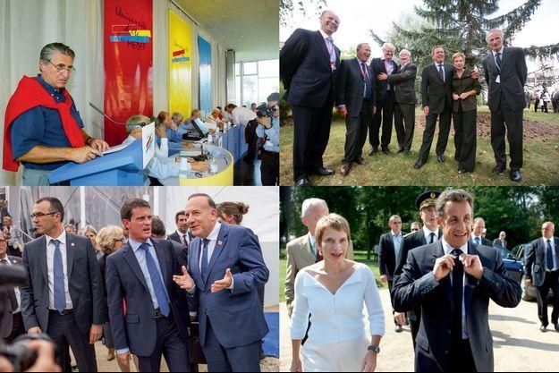 De g. à dr. et de haut en bas : Ernest-Antoine Seillière en 2002; Gehrard Schröder avec Laurence Parisot et plusieurs grands patrons du CAC40 en 2012; Manuel Valls et Pierre Gattaz en 2014; Laurence Parisot et Nicolas Sarkozy en 2007.