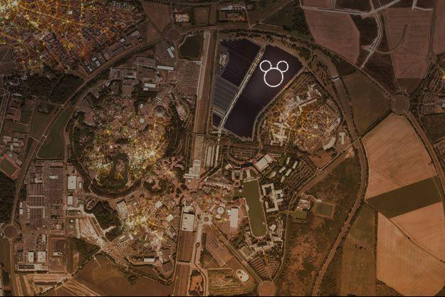Une tête de Mickey, illuminée par des leds, sera visible la nuit depuis le ciel, ou à bord du ballon installé dans Disney Village.