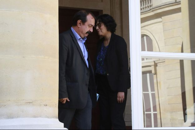 Philippe Martinez et Myriam El Khomri au ministère du Travail, vendredi.