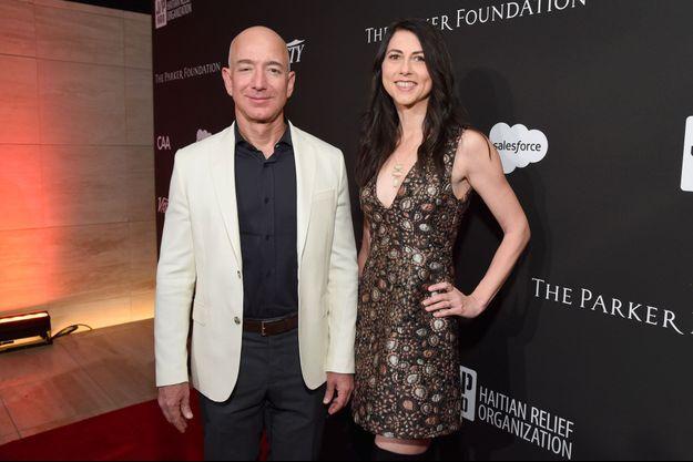 Jeff et MacKenzie Bezos en janvier 2018 à Hollywood.