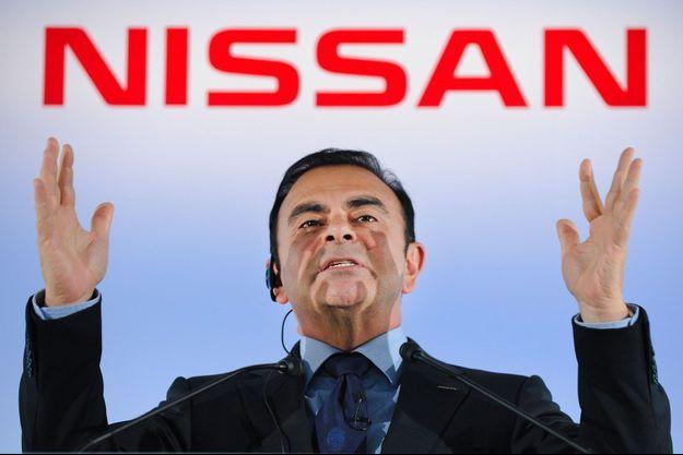Carlos Ghosn au siège de Nissan, lors d'une conférence de presse en 2012.