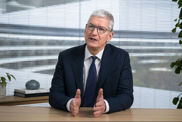 Tim Cook jeudi à Apple Park, le siège de l'entreprise.