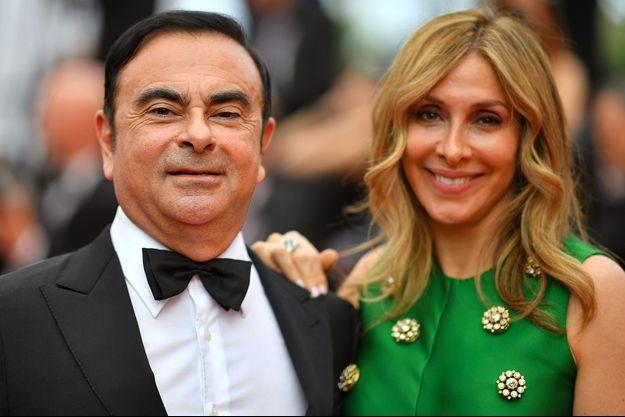 Carlos Ghosn et son épouse Carole en mai 2017 à Cannes.