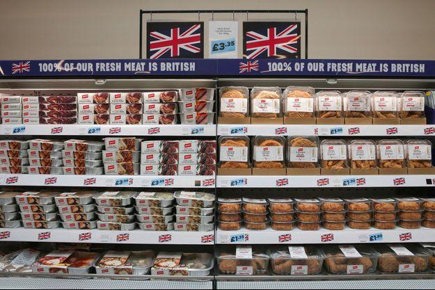 Dans un supermarché Jack's, à Chatteris, en Angleterre. La chaîne discount axe son marketing sur la vente de produits britanniques.