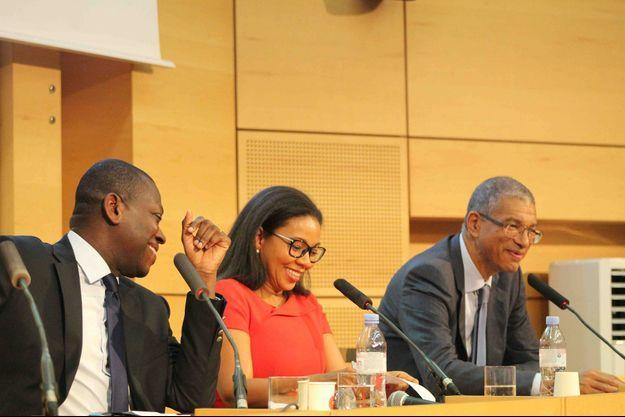 A Science Po Paris, le 14 octobre 2019, de gauche à droite Kako Nubukpo, Rebecca Enonchong et Lionel Zinsou