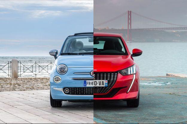 Une Fiat 500 et une Peugeot 208.