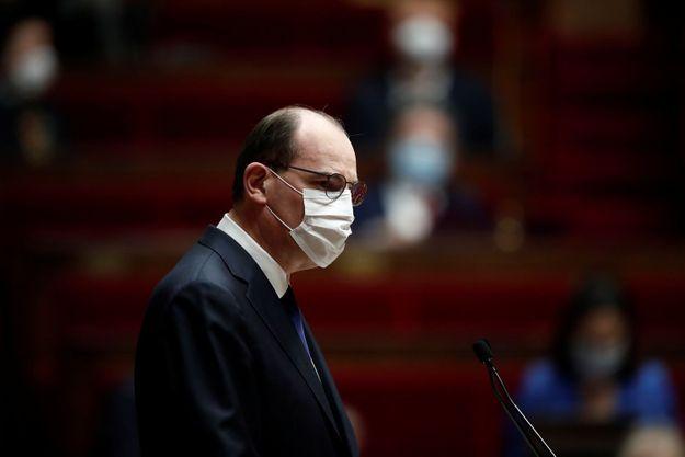 Jean Castex devant l'Assemblée, le 1er avril 2021.