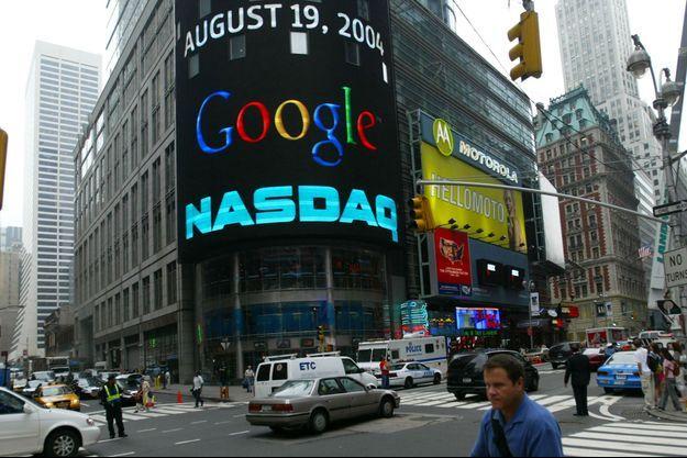 Le 19 août 2004 à New York, jour de l'introduction en bourse de Google.