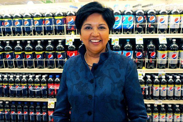 Indra Nooyi dans un supermarché de l'Etat de New York, en juin 2013.