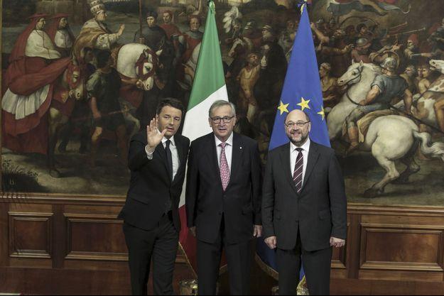 Matteo Renzi, Jean-Claude Juncker, et Martin Shulz.