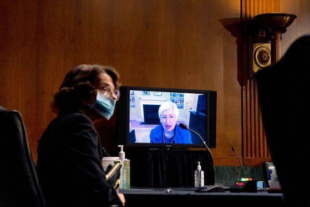 Janet Yellen (sur l'écran) durant une audition par le Sénat, mardi.