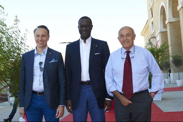 Thomas BUBERL (Directeur général d'Axa) – Tidjane THIAM (CEO – Crédit Suisse) – Jean-Hervé LORENZI (Président du Cercle des économistes) aux 16e Rencontres Économiques d'Aix-en-Provence.