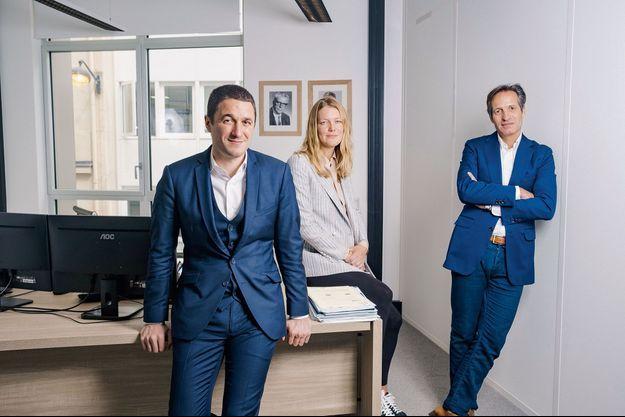 Boris Derichebourg (43 ans), Pauline Duval (33 ans) et Stéphane Baudry (50 ans), à Paris, le 21 mai.