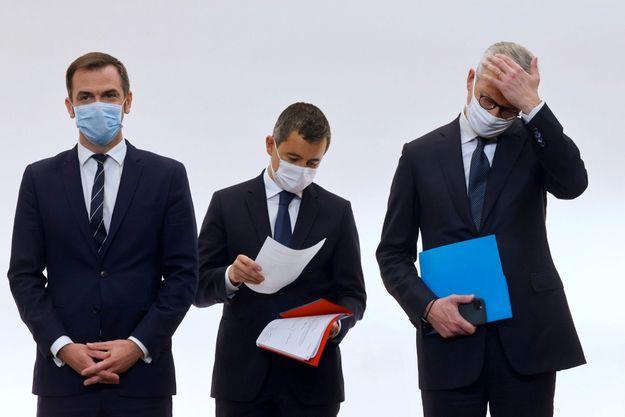 Le 15 octobre, les ministres Olivier Véran, Gérald Darmanin, Bruno Le Maire avec Elisabeth Borne détaillent l'application des mesures contre le Covid-19.