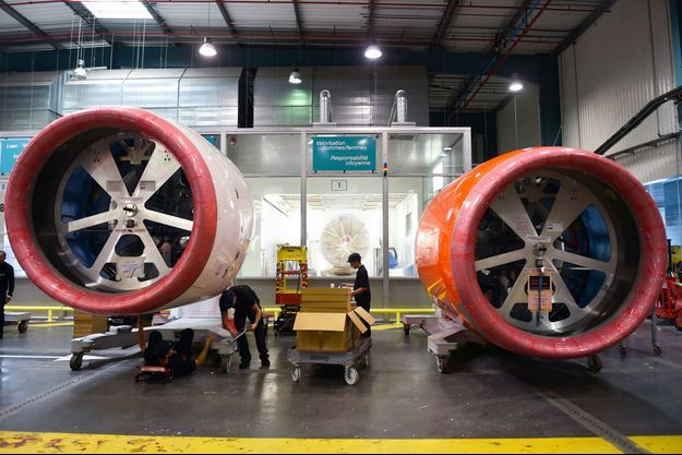Des moteurs d'Airbus A320neo dans l'usine Safran de Colomiers, en Haute-Garonne.