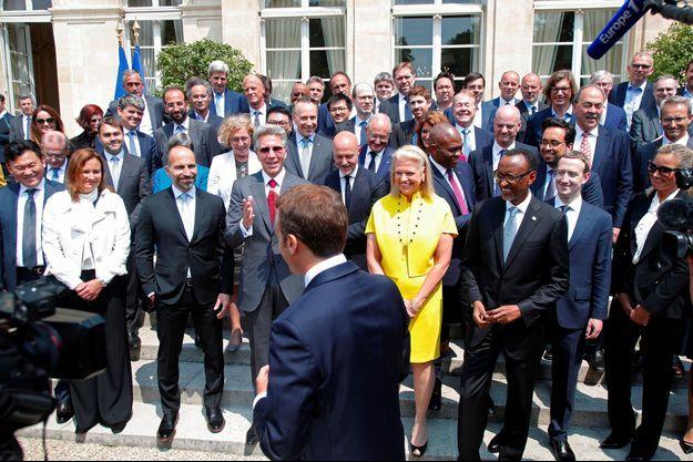 """Emmanuel Macron lors du sommet """"Tech for good"""" à l'Elysée, le 23 mai."""
