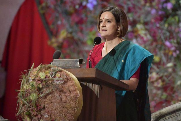 Esther Duflo lors du banquet des prix Nobel à Stockholm, le 10 décembre dernier.