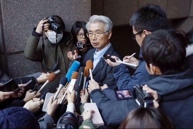 Junichiro Hironaka, principal avocat de Carlos Ghosn, mardi à Tokyo.