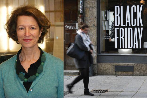Anémone Berès, présidente du réseau Envie. A droite, un magasin participant au Black Friday à Rennes en novembre 2017.