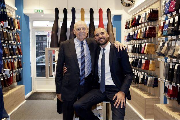 Jacques et Vincent Marie, dans un nouveau magasin Bleuforêt, rue Saint-Dominique, à Paris.