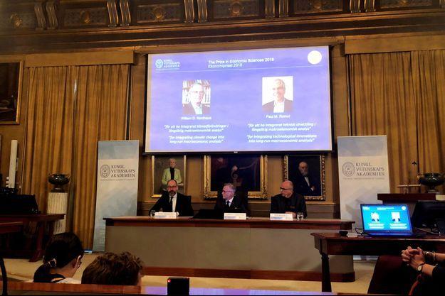 Le prix Nobel de l'économie a été décerné aux Américains William Nordhaus et Paul Romer, le 8 octobre 2018 à Stockholm.