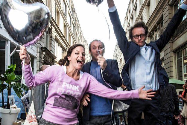 Ombline Le Lasseur, Vincent Ricordeau et Adrien Aumont à la fête célébrant le troisième anniversaire de leur société.