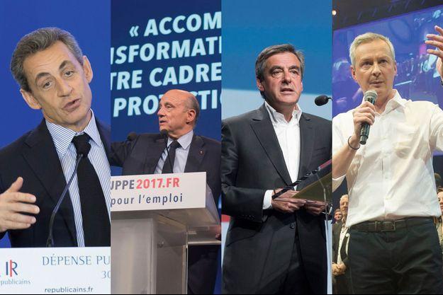 De g. à dr.: Nicolas Sarkozy, Alain Juppé, Bruno Le Maire et François Fillon